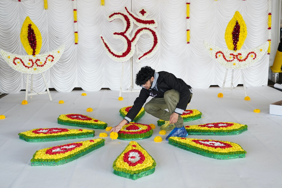 Diwali Display Finishing Touches New Covent Garden Market Image By Clive Boursnell