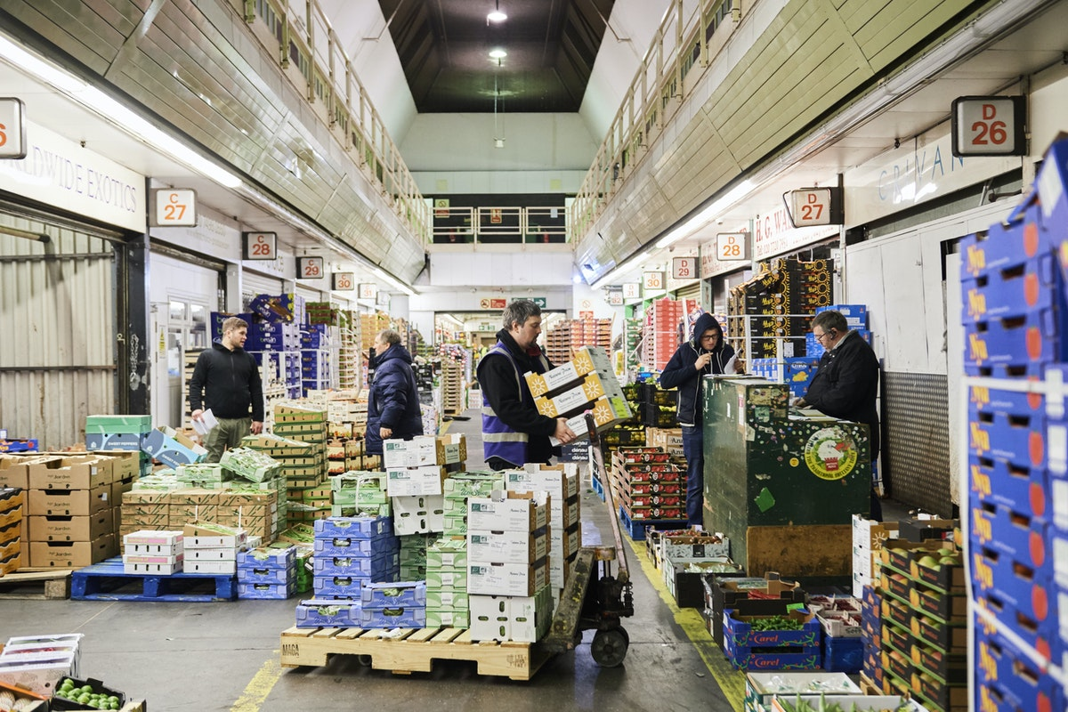 Buyers Walk at New Covent Garden Market Fruit and Veg Market