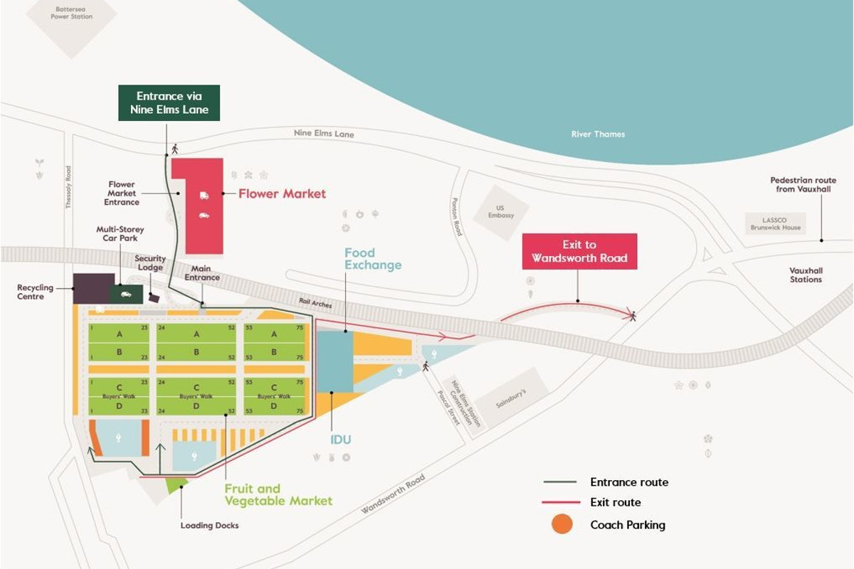 New Covent Garden Market Map Coach Parking Final