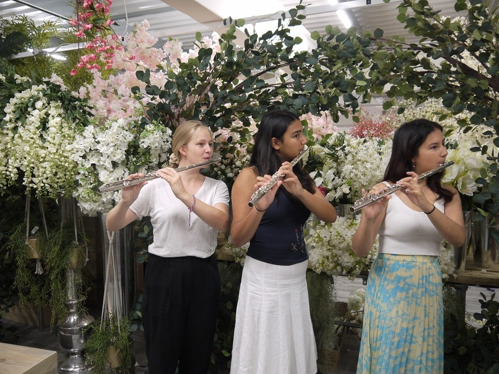 Young musicians make music video at New Covent Garden Flower Market